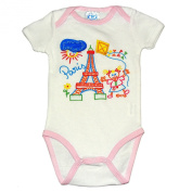 Souvenirs of France - Paris Baby Girl Bodysuit - Colour : White and Pink