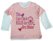 DFUK, This cute Chick RULES the Hen House, Baby Skater Top, 18-24m, Pale Pink & White