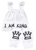 I Am King Knot Hat & Scratch Mits Baby Set