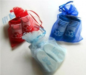 Soft Touch Pair Of Football Socks In An Organza Gift Bag 0-6mths - Pale Blue