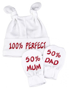 100% Perfect Knot Hat & 50% Mum And 50% Dad Scratch Mits Baby Set