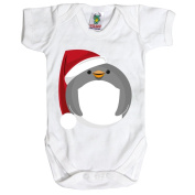 White Baby 6-12 Months Santa Penguin Baby Grow