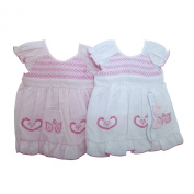 Baby Girl Embroidered Short Sleeve Dress, Pants and Headband Clothing Set (9-12 Months)