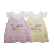Baby Girls Flower Butterfly Design Dress and Top Baby Clothing Set with Headband (6-9 Months)