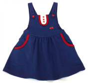 Green Nippers Baby Girl's Organic Cotton Dungaree Style Pinafore Short Sleeve Dress