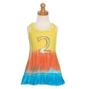 Yellow Aqua Dip Dyed Bling No. Two Dress Baby Girls Size 3M-6X