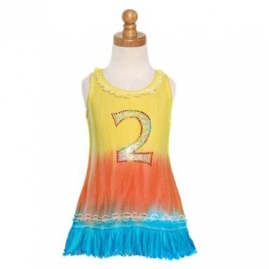 Yellow Aqua Dip Dyed Bling No. Two Dress Baby Girls Size 3M-6X