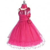 Chic Baby Fuchsia 1 Shoulder Sequined Tulle Skirt Dress Girls 2T-12