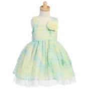 Lito Green Tie Dye Ruffle Flower Girl Easter Dress Girls 2T-7