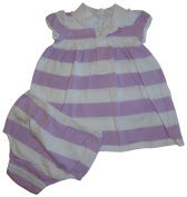 Ralph Lauren Polo Infant Girl's Short Sleeve 2 Piece Dress Lilac and White Stripes