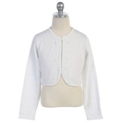 Chic Baby Little Girls Size 3T-10 White Beaded Bolero Shrug Sweater
