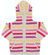 Bonnie Baby Pink Soft Striped Cashmere Hooded Cardigan, Knitwear, Baby girl, 0-3 months