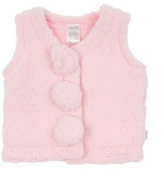 Max and Tilly Designer Baby Girl Gorgeous Coral Fleece Gilet Bodywarmer Jacket size 6-12 months - Pale Pink