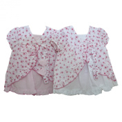 Baby Girl Short Sleeve Dress, Pants and Headband Set in Flower Pattern (9-12 Months)