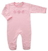 Baby Girl 100% Organic Cotton All in One Babygrow Sleepsuit size 3-6 months - Pale Pink