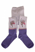 "Weri Spezials Children Tights, Lilac, ""Birdie on flowers"""