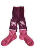 "Weri Spezials Children Tights, Aubergine, ""Birdie on flowers"""