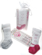 Baby Girls Gorgeous DIAMANTE 3 Hearts Tights In Cerise Pink In Gift Bag!