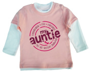 DFUK My Auntie...for all things shopping, Baby Unisex Boy Girl, Layered Skater Top, 2-3 years, Pale Pink & White