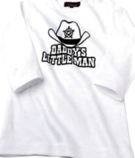 Daddy's Little Man L/S Slogan Baby White T-Shirt Clothing,2-4 years
