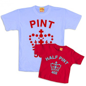 Father And Child Pint Half Pint Matching T-Shirts Red & Blue