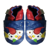Dotty Fish Soft Leather Baby Shoes with Suede Soles. Blue Multi Coloured Dotty Fish design