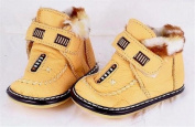 Mustard yellow leather toddler shoe hook and loop fastener size 12 or UK Size 1