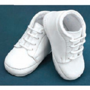 Angels Garment Baby Boy Size 0-4 White Soft Lace Up Christening Shoes