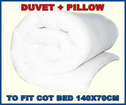 ANTIALERGY NURSERY COT FILLING QUILT DUVET 135x100cm TO FIT COT BED 140X70CM + PILLOW ANTI ALERGY