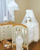 Lovely BABY COT/COTBED CANOPY DRAPE +CANOPY HOLDER / ROD-WHITE