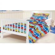 Junior Cot Bed Colourful Transport Print Duvet Cover Set. Colour