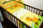 3 PIECE NURSERY BABY BEDDING SET (reg to fit COT 60x120cm) - Dino Yellow