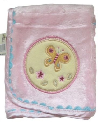 Pale Pink Appliqued Bamboo Baby Blanket