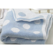 Walton Baby - Knitted Softee Pushchair Blanket - Blue Spot