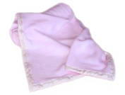 Pastel Pink Baby Fleece Blanket with Duck Edging Ribbon by Tweedmill