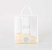 Baby Bedding Moses Basket/Crib Bed Starter Set Bundle - Sheet,Cellular & Popcorn Blankets - White