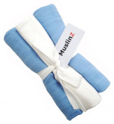 Pack of 3 Muslinz Premium High Quality Muslin Squares / Wraps 100% Cotton in Gift Ribbon - Blue, White, Blue