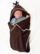 Tuppence and Crumble soft fleece hooded baby blanket wrap Chocolate