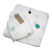 Rosy Cheek Cosy Bamboo Swaddle White, Turquoise Spot