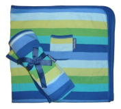 Toby Tiger Organic Blue Multi Striped Baby Pram Blanket