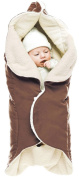 Wallaboo Baby Blanket Nore, Superb Quality blanket, 85cm x 85cm, Stylish & Durable Faux Suede with Warm and Soft Shearling Inner, Chocolat