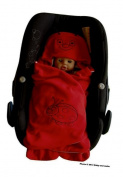 ByBUM- Swaddling Wrap, Car Seat and Pram Blanket for Spring, Summer and Autumn/Fall, Universal for infant and child car seats eg; Maxi-Cosi, Roemer, for a pushchair/stroller, buggy or baby bed; RED LADYBIRD