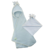 Tuppence and Crumble soft fleece Hooded baby blanket wrap Pale Blue