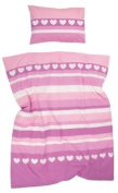 Heart Stripe Cotbed Duvet Cover And Pillowcase Set