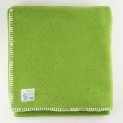 Tuppence and Crumble soft fleece Baby Blanket 100x145cm Pea with Cream Stitching