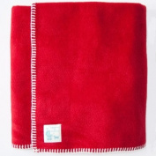 Tuppence and Crumble soft fleece Baby Blanket 100x145cm Red with Cream Stitching
