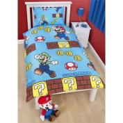 Nintendo Super Mario Brothers Blue Single Bedding Duvet Cover Set