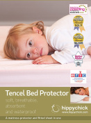 Hippychick Tencel Fitted Mattress Protector, 90 x 200 cm - Single, Pale Blue