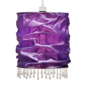 Modern Purple Faux Silk Beaded Non Electric Pendant Light Shade