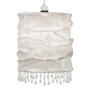 Modern White Faux Silk Beaded Non Electric Pendant Light Shade